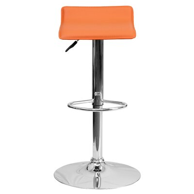 Claudine Adjustable Height Swivel Bar Stool Upholstery: Orange