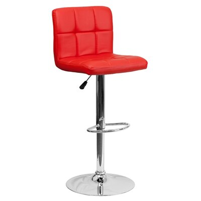 Faith Adjustable Height Swivel Barstool Upholstery: Red