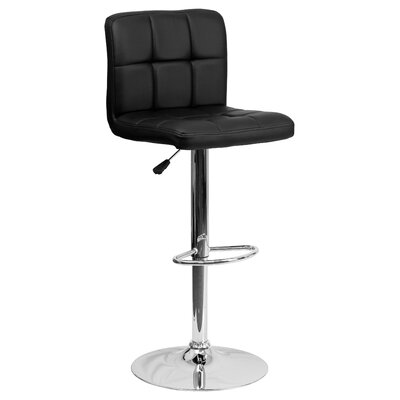 Faith Adjustable Height Swivel Bar Stool Upholstery: Black