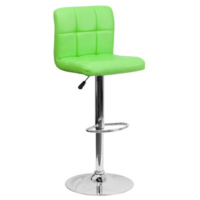 Faith Adjustable Height Swivel Bar Stool Upholstery: Green