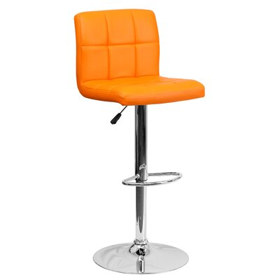 Faith Adjustable Height Swivel Bar Stool Upholstery: Orange