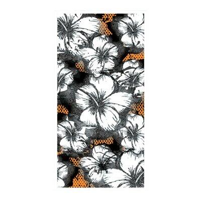 Foil Hibiscus Beach Towel Color: Orange