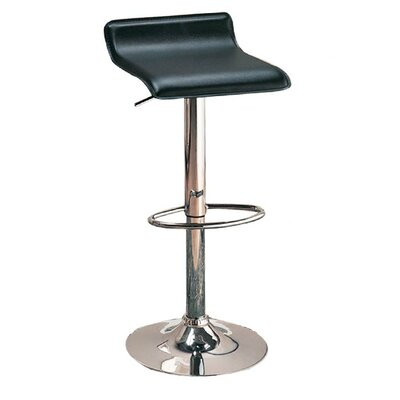 Zahara Adjustable Height Swivel Bar Stool Upholstery: Black