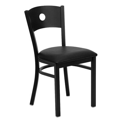 Hera Circle Circle Back Side Chair Upholstery: Black Vinyl