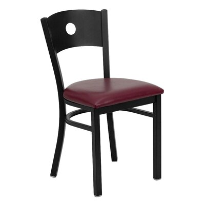 Hera Circle Circle Back Side Chair Upholstery: Burgundy Vinyl