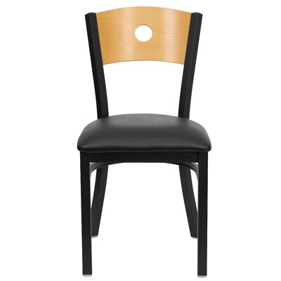 Eden Circle Back Side Chair Upholstery: Black Vinyl