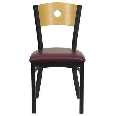 Hera Circle Back Side Chair Upholstery: Burgundy Vinyl