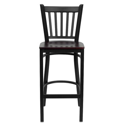 Hera 29.25 Bar Stool Upholstery: Mahogany Wood