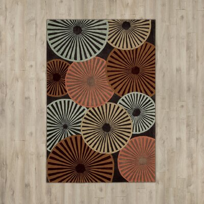 Desousa Black/Brown/Blue Outdoor Area Rug Rug Size: Rectangle 36 x 56