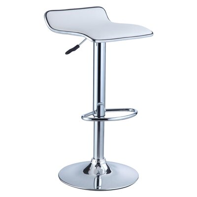 Marylou Adjustable Height Swivel Bar Stool Upholstery: White