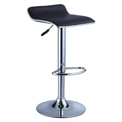 Marylou Adjustable Height Swivel Bar Stool Upholstery: Black