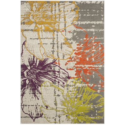 Ivory/Gray Area Rug Rug Size: 52 x 76