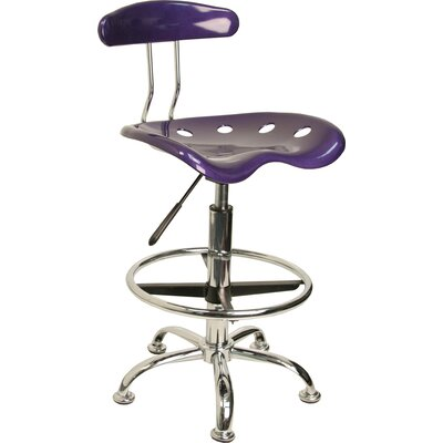 Lila Adjustable Height Drafting Task Chair with Chrome Base Upholstery: Violet ZIPC2979 28381777