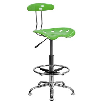 Lila Adjustable Height Drafting Task Chair with Chrome Base Upholstery: Spicy Lime ZIPC2979 28381783