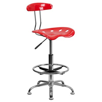 Lila Adjustable Height Drafting Task Chair with Chrome Base Upholstery: Cherry Tomato ZIPC2979 28381781