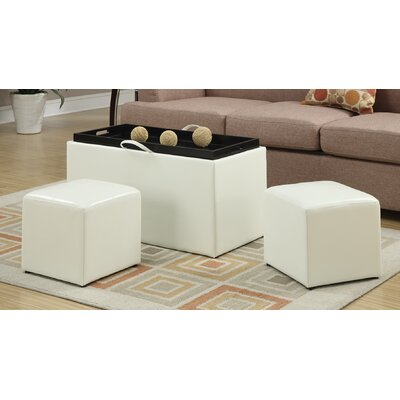 Marla 3 Piece Storage Ottoman Set Upholstery: White