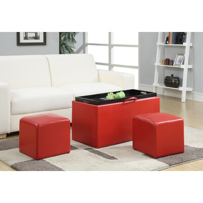 Marla 3 Piece Storage Ottoman Set Upholstery: Red