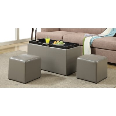 Marla 3 Piece Storage Ottoman Set Upholstery: Grey