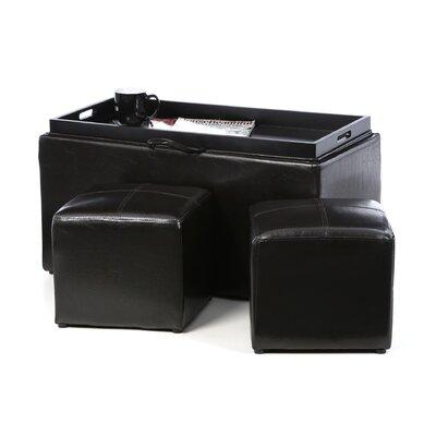 Marla 3 Piece Storage Ottoman Set Upholstery: Espresso
