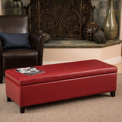 Kaylie Storage Ottoman Upholstery: Red