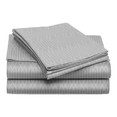 Tiverton 4 Piece Sheet Set Color: Light Gray, Size: California King