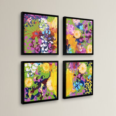 'Hard Candy' 4 Piece Framed Painting Print Set Size: 36