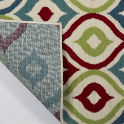 Lucia Red/Blue/Green Indoor/Outdoor Area Rug Rug Size: 33 x 53
