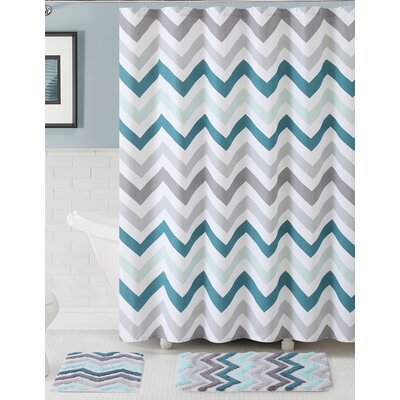Gerald 100% Cotton Shower Curtain Set Color: Aqua