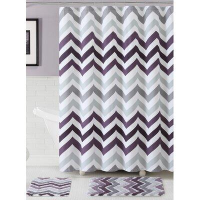 Gerald 100% Cotton Shower Curtain Set Color: Purple
