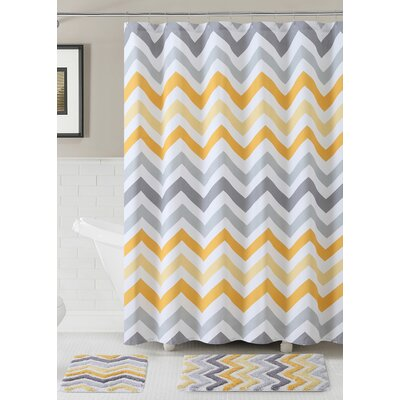 Gerald 100% Cotton Shower Curtain Set Color: Yellow