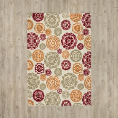 Lucia Cream/ Orange/ Red/ Green/ Indoor/Outdoor Area Rug Rug Size: 33 x 53