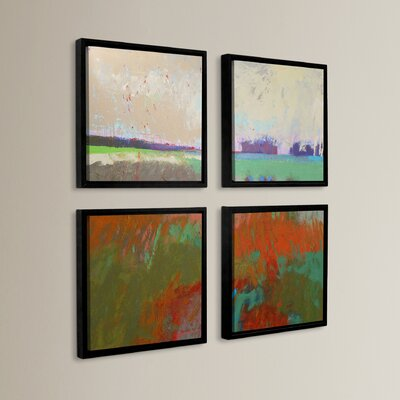 'Panorama 2' 4 Piece Framed Painting Print Set Size: 36