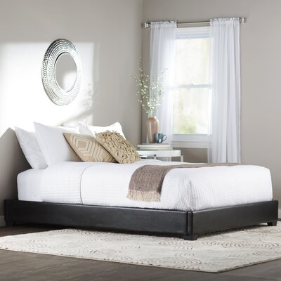 Alex Upholstered Platform Bed Size: Queen, Color: Black Faux Leather