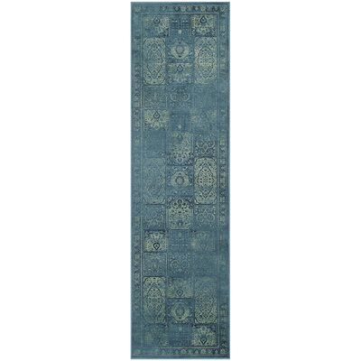 Audrey Vintage Turquoise Area Rug Rug Size: Runner 22 x 8