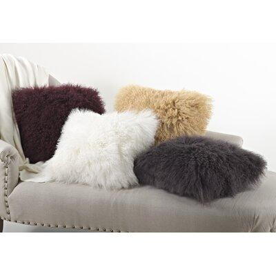 Becky Mongolian Lamb Fur Wool Throw Pillow by Zipcode™ Design
