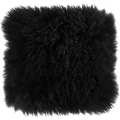 Becky Mongolian Fur Throw Pillow Color: Black, Size: 16 x 16