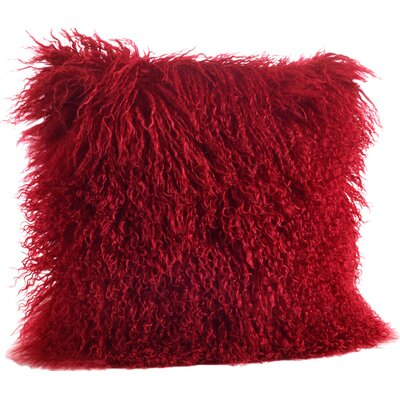 Becky Mongolian Lamb Fur Wool Throw Pillow Size: 16 L x 16 W, Color: Red