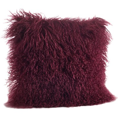Becky Mongolian Fur Throw Pillow Color: Eggplant, Size: 16 L x 16 W