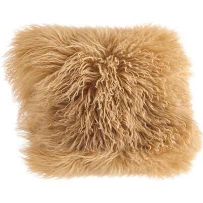 Becky Mongolian Fur Throw Pillow Color: Gold, Size: 20 L x 20 W