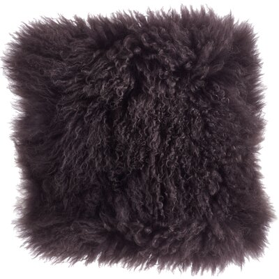 Becky Mongolian Lamb Fur Wool Throw Pillow Color: Grey, Size: 20 L x 20 W