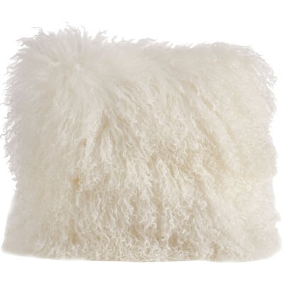 Becky Mongolian Fur Throw Pillow Color: Ivory, Size: 16 L x 16 W