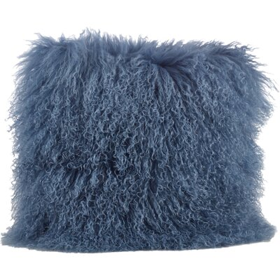 Becky Mongolian Fur Throw Pillow Color: Blue / Gray, Size: 16 x 16