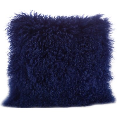 Becky Mongolian Fur Throw Pillow Color: Cobalt Blue, Size: 20  x 20