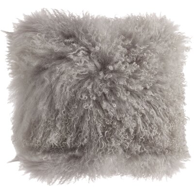 Becky Mongolian Lamb Fur Wool Throw Pillow Color: Fog, Size: 16 L x 16 W