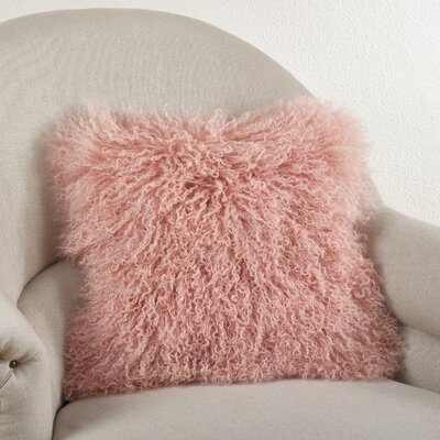 Becky Mongolian Lamb Fur Wool Throw Pillow Color: Rose, Size: 16 L x 16 W