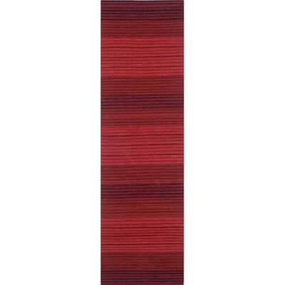 Jami Striped Contemporary Red Area Rug Rug Size: Runner 23 x 10
