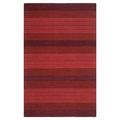 Jami Striped Contemporary Red Area Rug Rug Size: 5 x 8