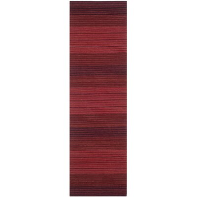 Jami Striped Contemporary Red Area Rug Rug Size: Runner 23 x 8