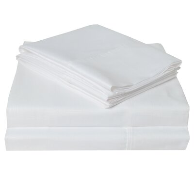 Connie Windowpane Embossed Microfiber Sheet Set Size: King, Color: White