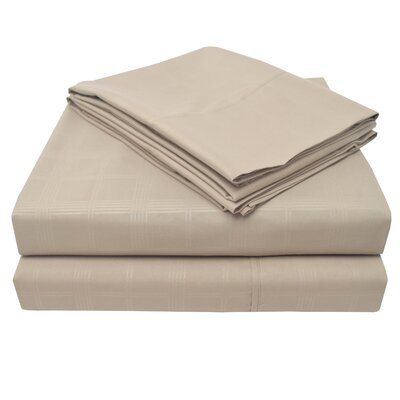 Connie Windowpane Embossed Microfiber Sheet Set Size: King, Color: Taupe